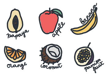 Doodles of Fruits - vector gratuit #407247