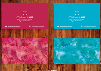 Bright Watercolor Name Card Set - vector gratuit(e) #407297