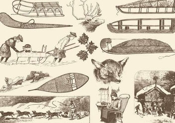 Sepia Vintage Winter Illustrations - Free vector #407477