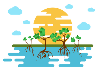 Free Mangrove Trees Illustration Vector - Free vector #407557