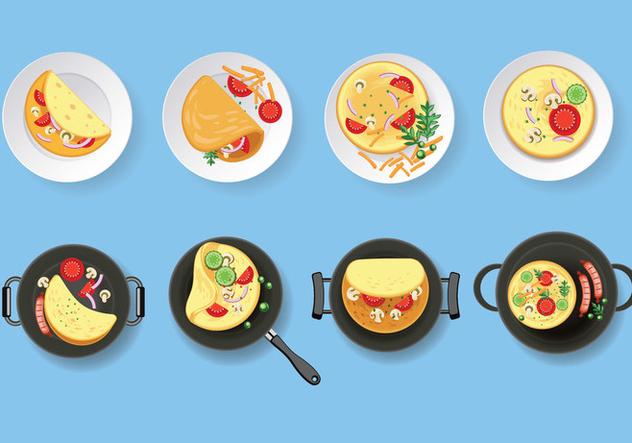 Omelet Vector Set Illustration - vector #407877 gratis