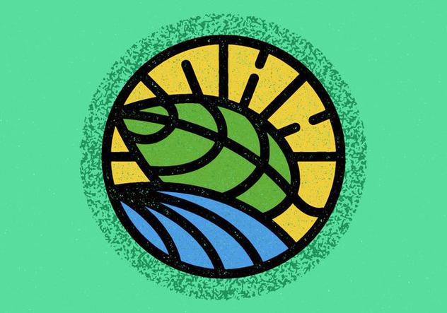 Minimalist Leaf Badge - Free vector #408327