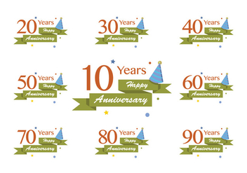 Happy Anniversary Lettering Vectors - vector #408357 gratis