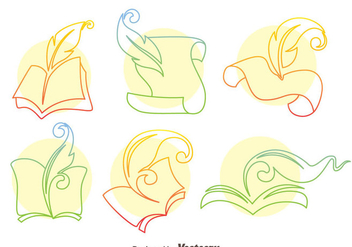 Writing Poem Line Icons Vector - vector gratuit #408367