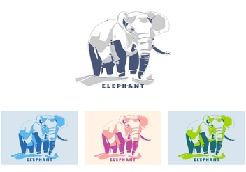 Elephant in popart portrait - vector gratuit #408667