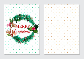 Card With Fir Wreath Free Vector - Free vector #408777