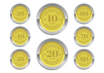 Anniversary Badges Vectors - vector #409307 gratis