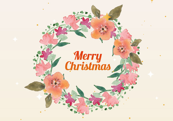 Free Christmas Watercolor Wreath Vector - Free vector #409437