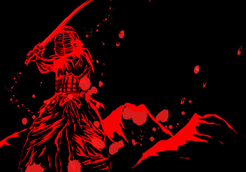 Kendo Master In Red With Blood - Free vector #409547