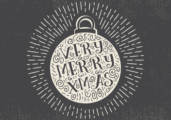 Free Vintage Hand Drawn Christmas Ball With Lettering - Free vector #410017