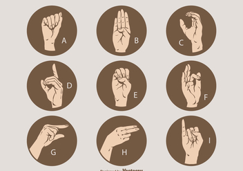 Free Vector Sign Language Letter Set A - I - Free vector #410107