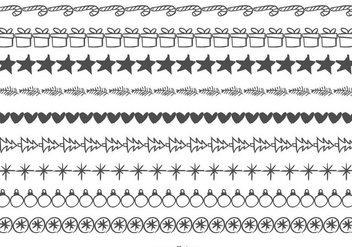 Cute Sketchy Christmas Borders - Free vector #410407
