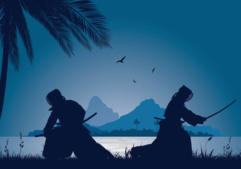 Kendo Silhouette Night Lake Free Vector - vector gratuit #410427