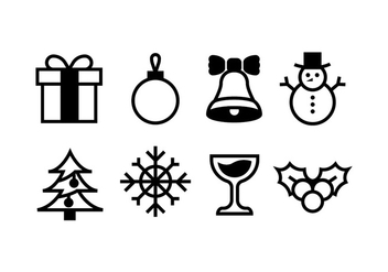 Christmas icons stock vectors - vector gratuit #410777