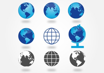 Nine Globe Appearances Vector Set - Free vector #410917