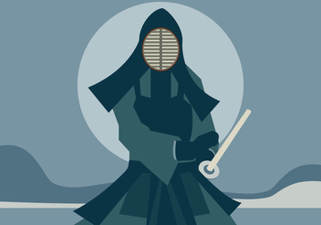 A Man with Kendo Suit Holding His Kendo Sword Vector - Kostenloses vector #411787