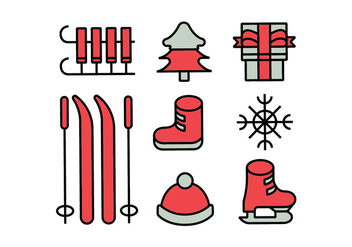 Merry christmas icons set - vector gratuit #412347