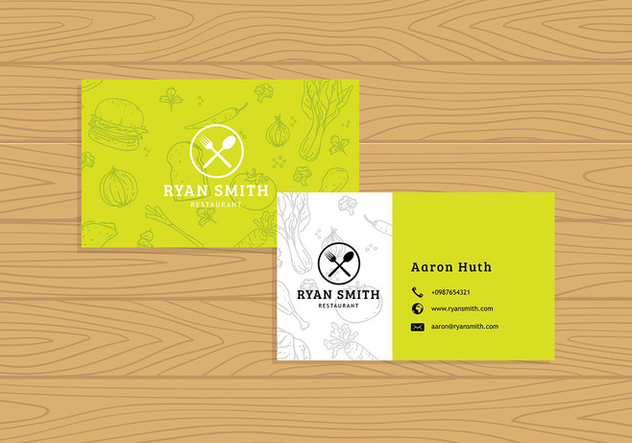 Name Card Restaurant Template Free Vector - Free vector #412997