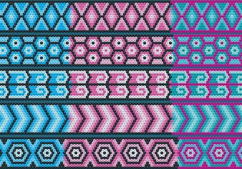 Blue And Pink Huichol Ribbons - vector gratuit #413307