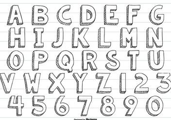 Cute Sketchy Hand Drawn Vector Alphabet - Free vector #413317