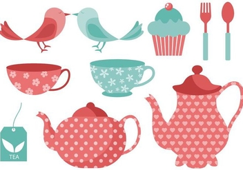 Free Tea Time Elements Vector Illustration - Free vector #413557