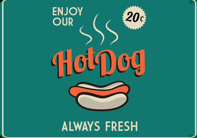 Retro Hot Dog Sign - Free vector #413997