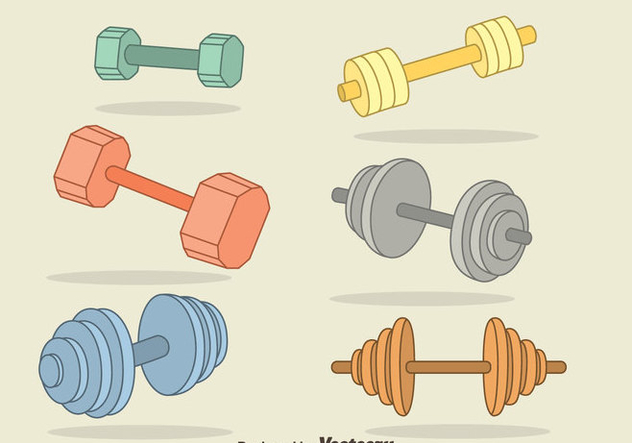 Hand Drawn Dumbell Vector Set - Free vector #414387