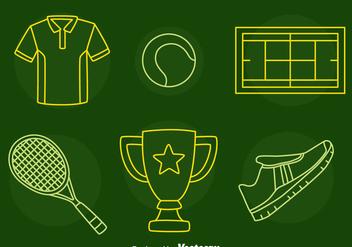 Tennis Line Icons Vector - Kostenloses vector #414417