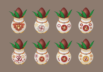 Set Vector illustration of Kalash with Coconut and Mango Leaf - Free vector #414507