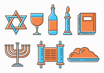 Free Shabbat Jewish Icons - vector #414657 gratis
