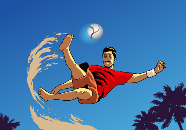 Beach Soccer Player - Free vector #414937