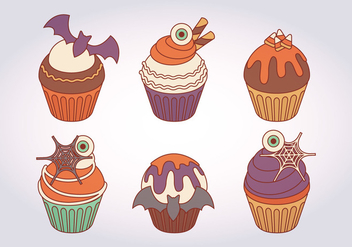 Halloween Vector Cupcakes - Free vector #414967