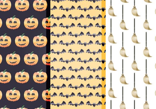 Halloween Watercolor Vector Patterns - vector #414977 gratis