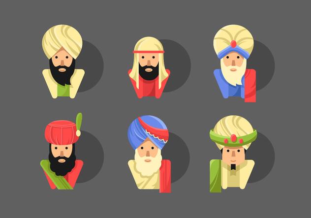 Sultan Flat Vector Character Sets - vector #415037 gratis