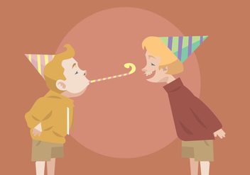 Two Kids With Party Blower and Hat Vector - бесплатный vector #415147