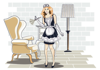 Vector Illustration of Woman in Classic Maid Dress Costume - Free vector #415497