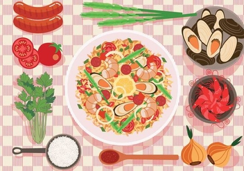 Paella on a Plate Vector - Free vector #415517