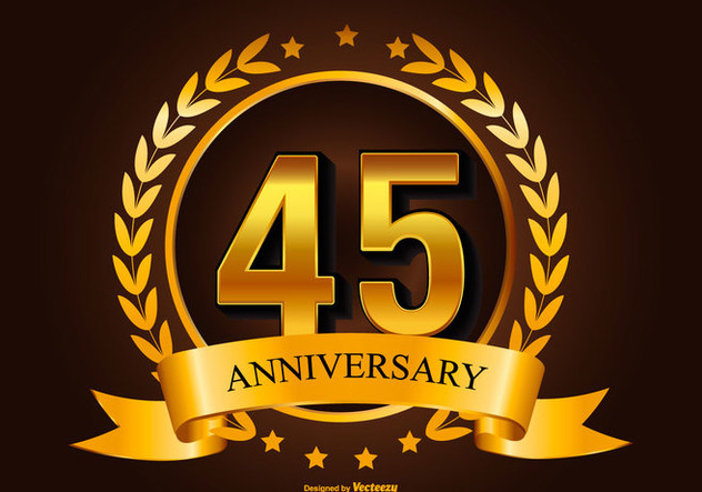 Beautiful 45th Anniversary Illustration - vector gratuit #415827