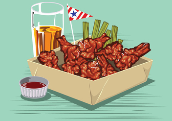 Buffalo Wings with Sauce and Beer on the Table - vector gratuit #416347