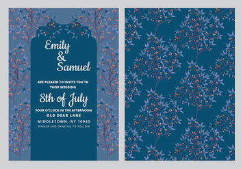 Vector Dark-Blue Wedding Invitation - Free vector #417867