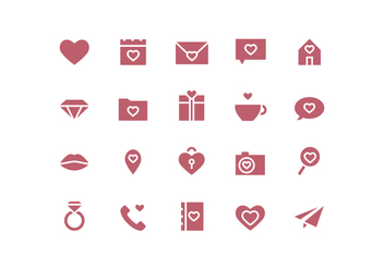 Vector Simple Valentine's Day Icons - Free vector #417897