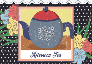 Afternoon Teapot Vintage Illustration - Free vector #418007