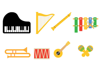 Music Instrument Icon Pack Vector - Free vector #418037