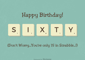 Free 60th Birthday Scrabble Letter Vector Card - Kostenloses vector #418127