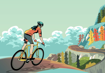Bike Trail Down The Mountain - vector gratuit #418247