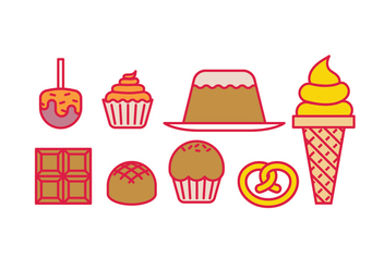 Sweets desserts and cakes - vector gratuit #418257