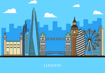 Vector Of The Shard and The London Skyline - vector #418297 gratis