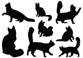 Cat Silhouette Vectors - Free vector #418837