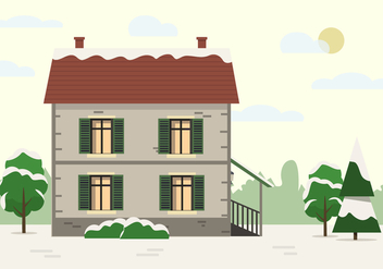 Free Vector Building With Landscape - Kostenloses vector #418997
