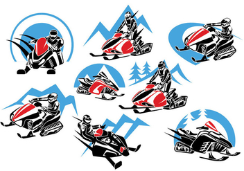 Set of Winter Snowmobile Logo, Emblems, Badges and Icons - vector gratuit #419317